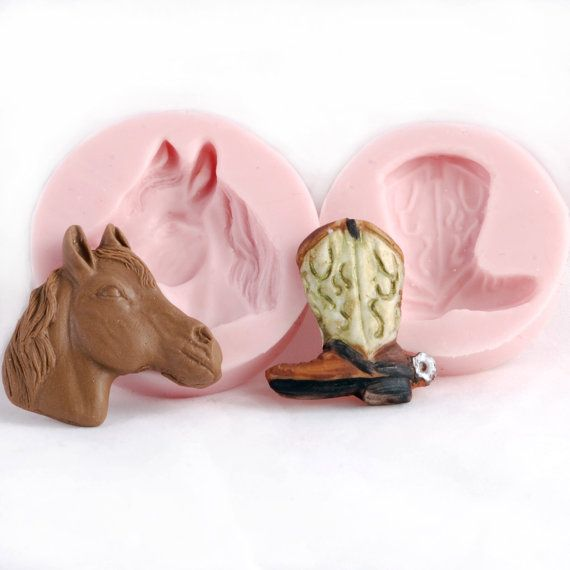 Horse Head and Cowboy boot Silcione Mold set  by MoldMeShapeMe, $11.00
