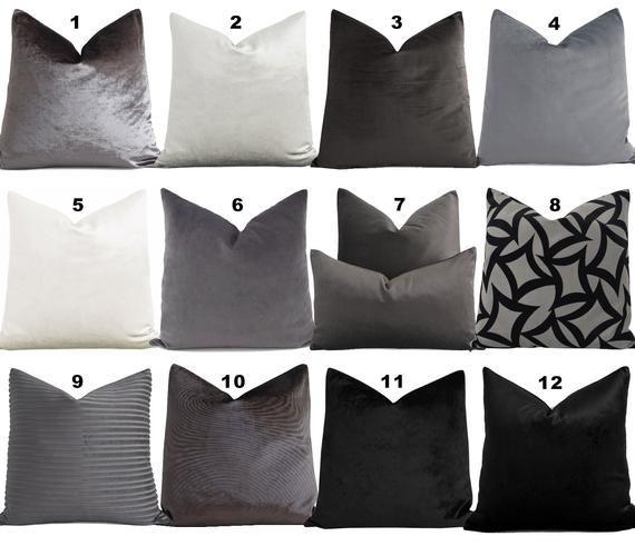 Pleasing Gray Velvet Pillow Covers Custom 12 14 16 18 20 22 24 26 28 Uwap Interior Chair Design Uwaporg