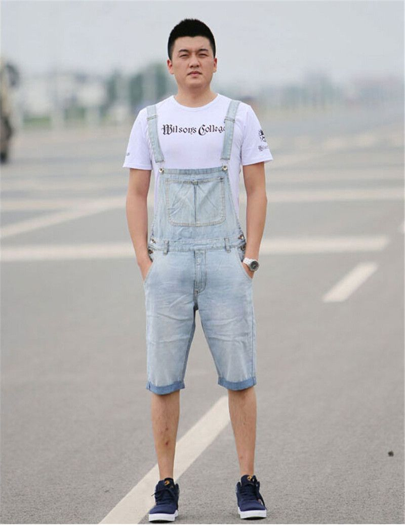 Denim Bib Overalls Shorts Men Summer Fashion Mens Jeans Jumpsuits Rompers  Plus Size S M L XL 2XL