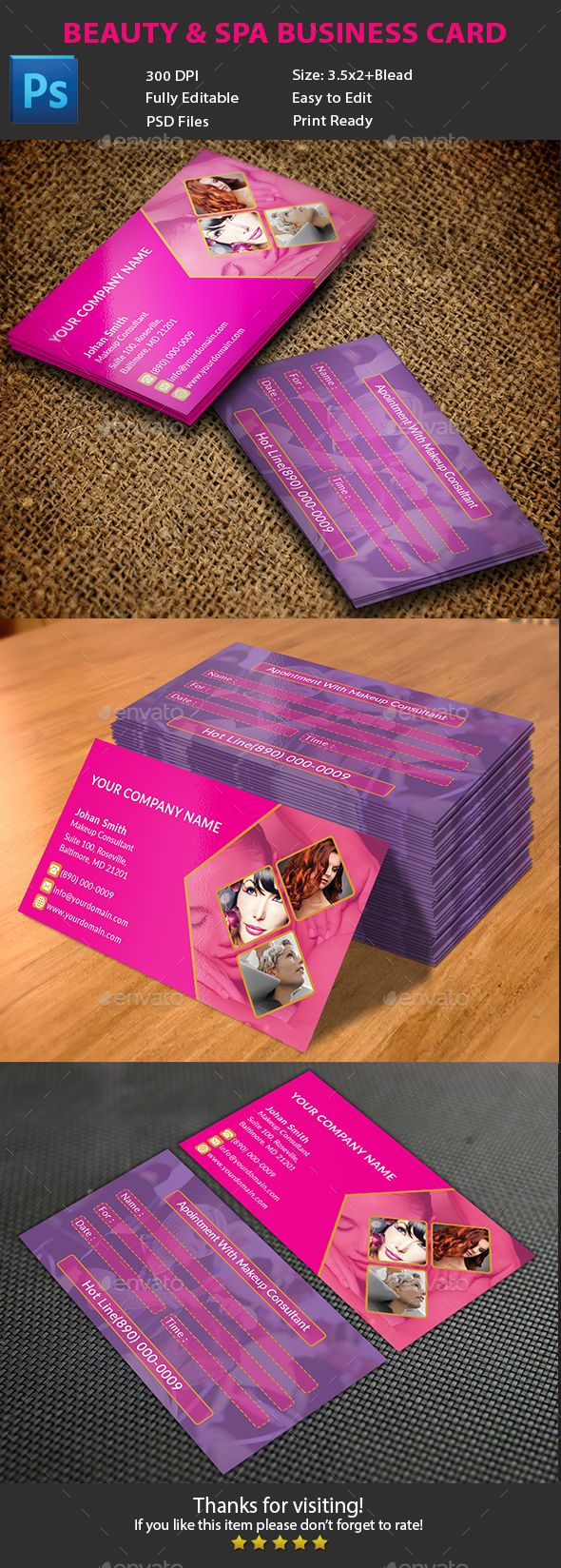 Beauty & Spa Business Card | Business cards, Card templates and Spa
