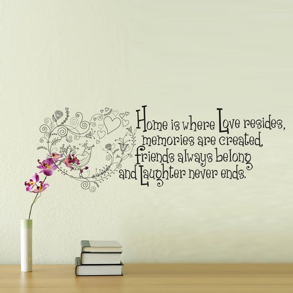 Vinyl Wall Decal - Home is Where Love Resides - Whimsical ...