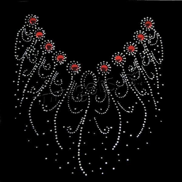 Rhinestone Iron On Transfer Hot fix Motif Fashion Design Stem Roses Beautiful