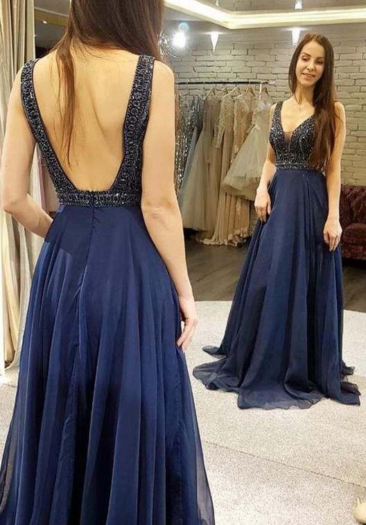 1624f36770e Open Back Floor Length Prom Dress with Beading Semi Formal Dresses Wedding  Party Dress LP179