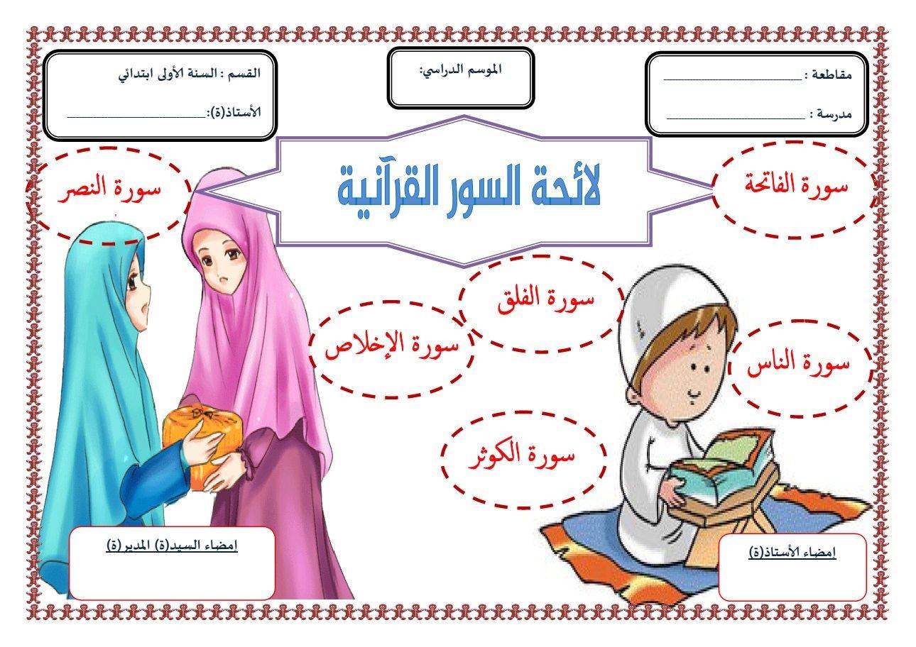 لائحة السور القرآنية للسنة الأولى ابتدائي الجيل الثاني منتديات بوابة الونشريس Education Comics