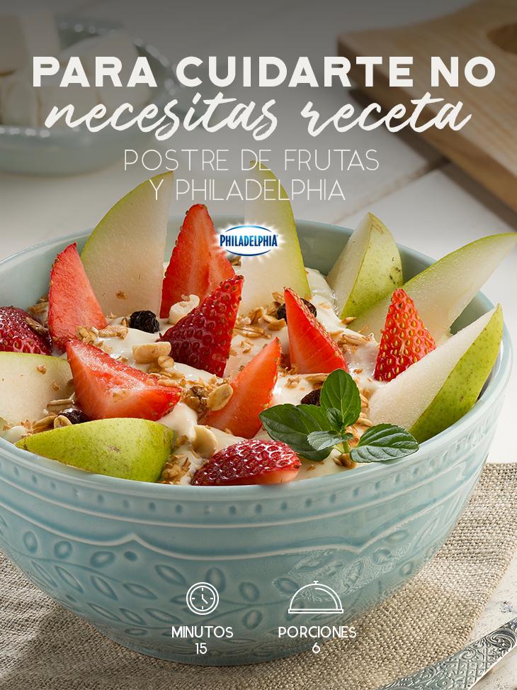 Postre De Frutas Y Philadelphia Receta Postres Con Frutas Desayunos Con Fruta Recetas De Comida Saludable