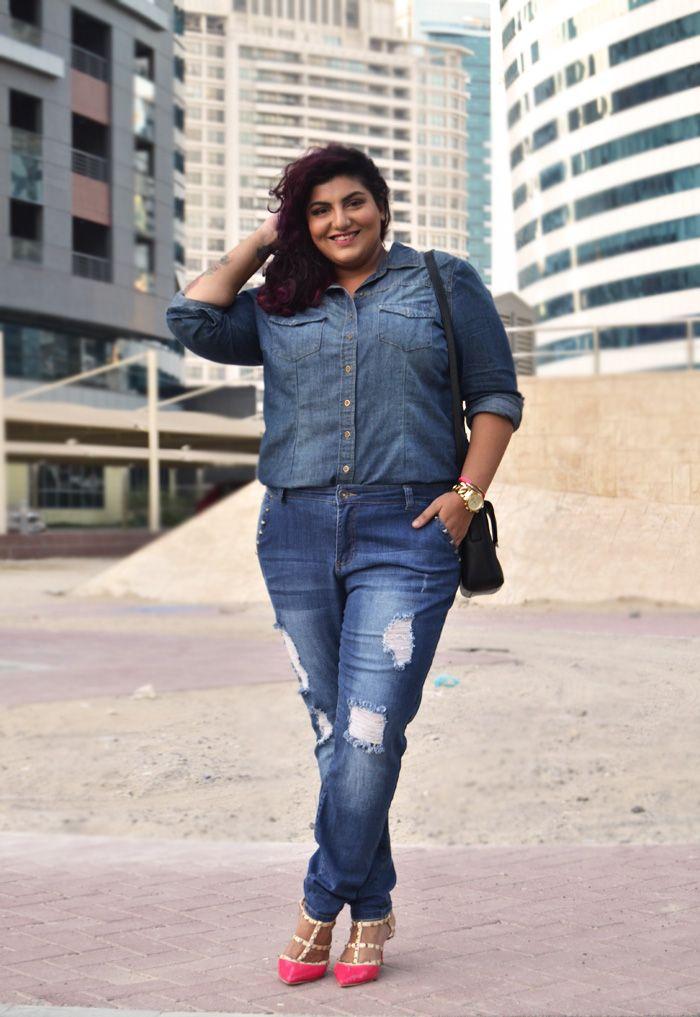 Double Denim: Plus size boyfriend jeans   just my size   Pinterest ...