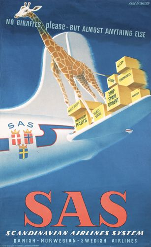 Scandinavian Airlines System Sas Air Cargo Services No Giraffes Please Vintage Advertising Poster 1946 Retro Illustration Affisch