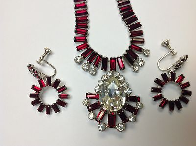 Vintage Signed B David Red and Clear Rhinestone Necklace and Earrings