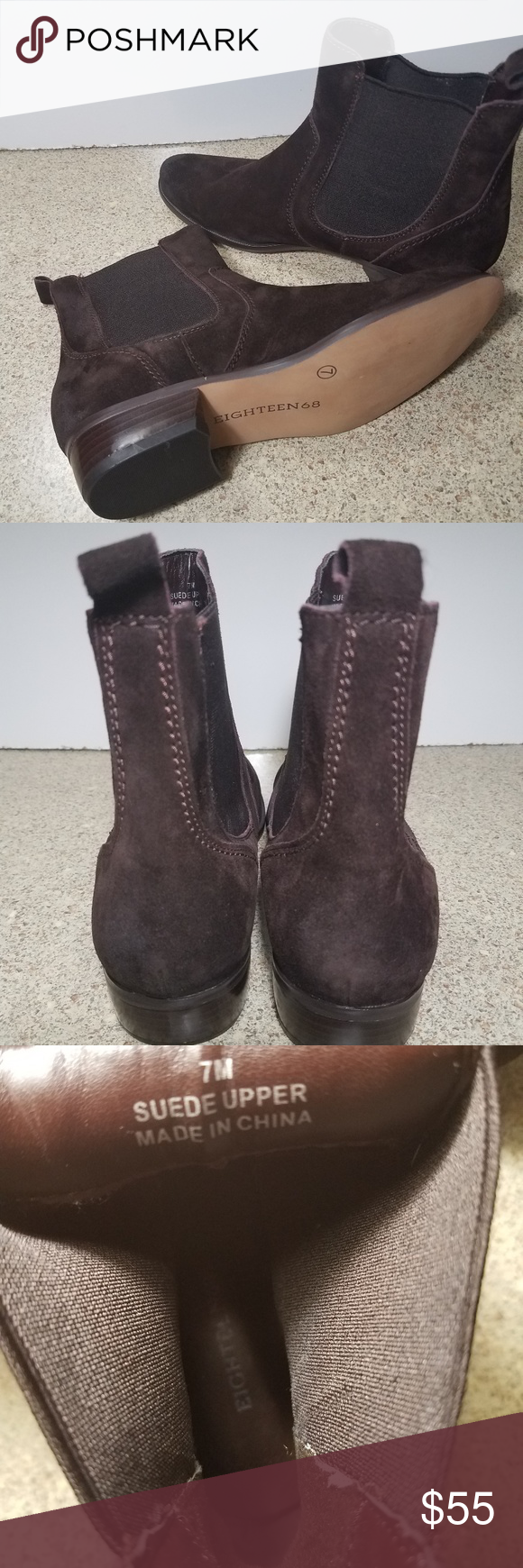 ccbbd93baf46a Womens eighteen68 ankle boots sz. 7 brown leather Beautiful brown leather ankle  boots size 7 never worn brand new ready for fall clean, with elastic sides  ...