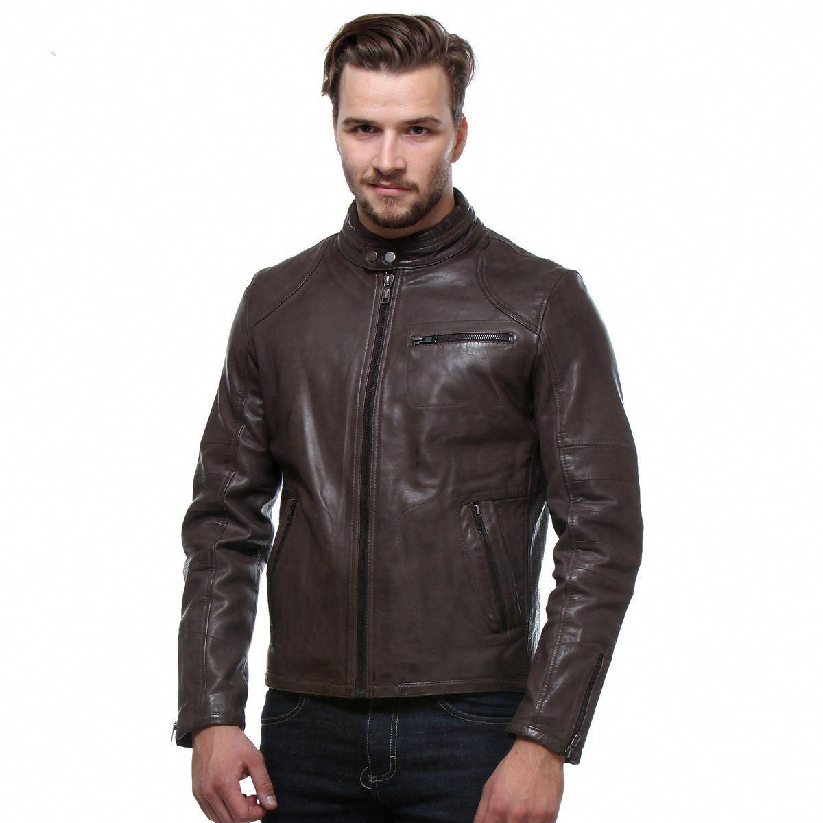 Men/'s Slim Fit Genuine Sheep Brown Classic Leather Jacket
