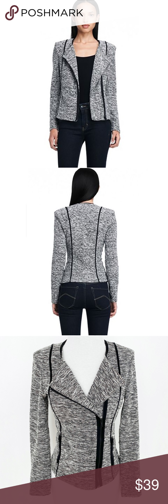 sold armani exchange • b&w asymmetric zip jacket