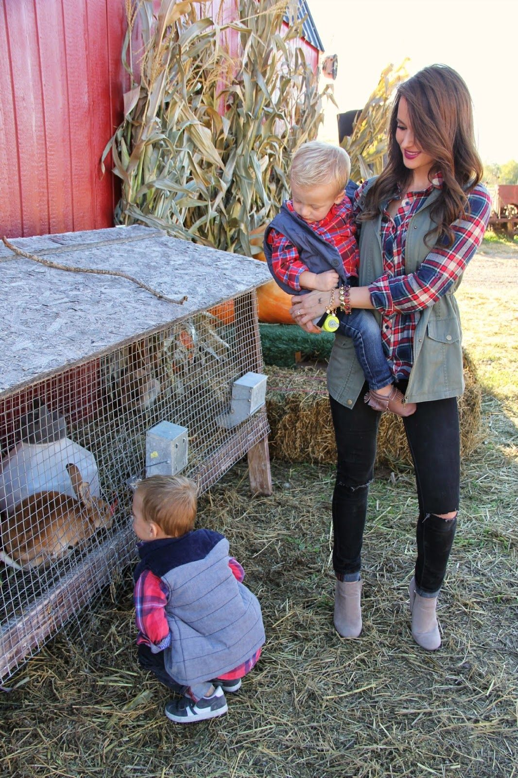 Kiss Me Darling: The Perfect Pumpkin Patch Outfit Fall outfit, utility vest, distressed denim, wedge booties, plaid top, kids fall outfit #pumpkinpatchoutfit