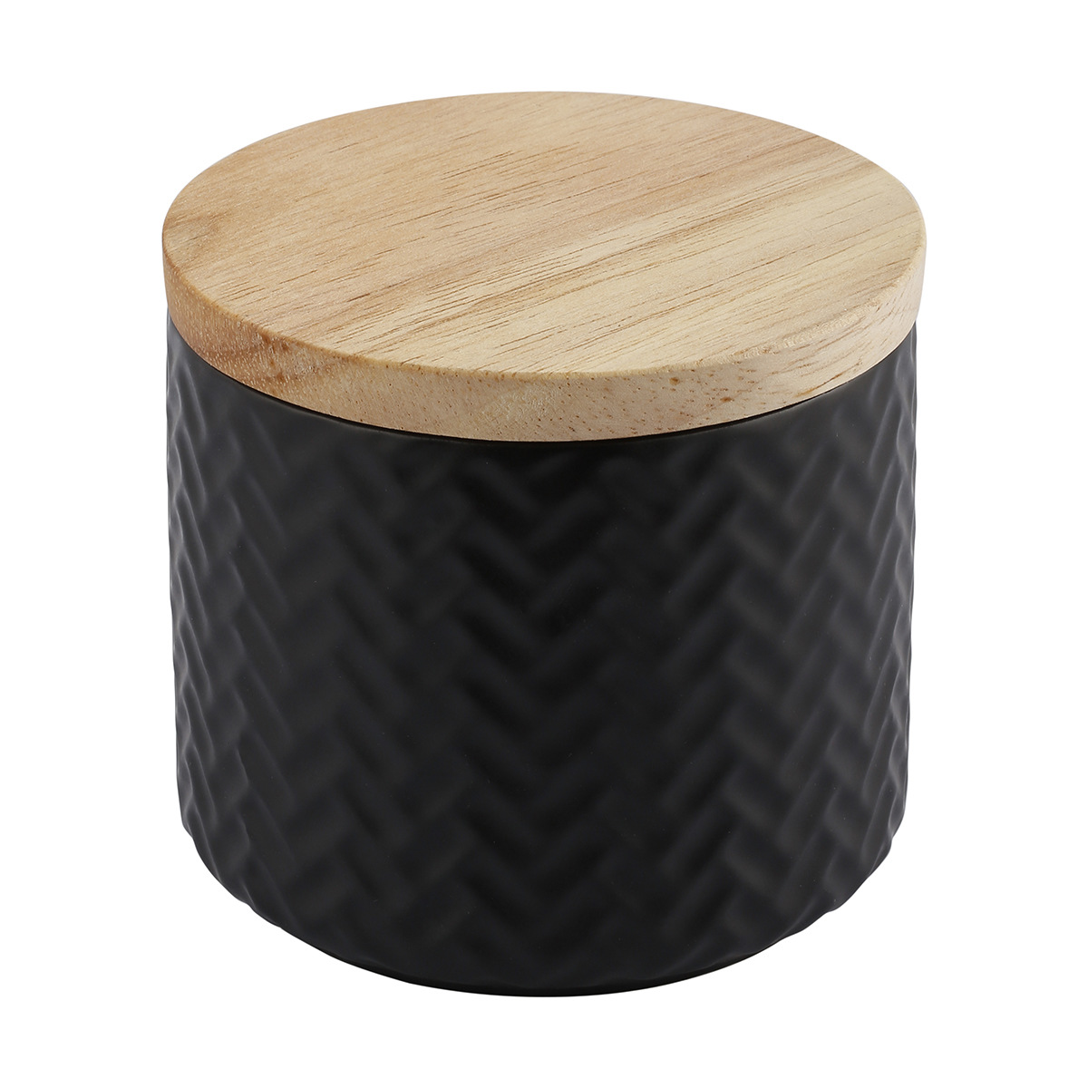 Small Black Embossed Canister Decor, Home decor, Storage