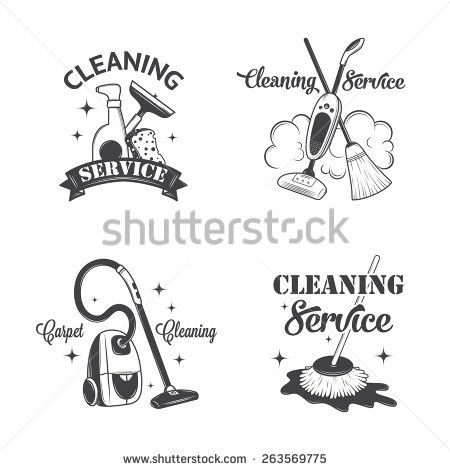Set Of Vintage Logos Labels And Badges Cleaning Services