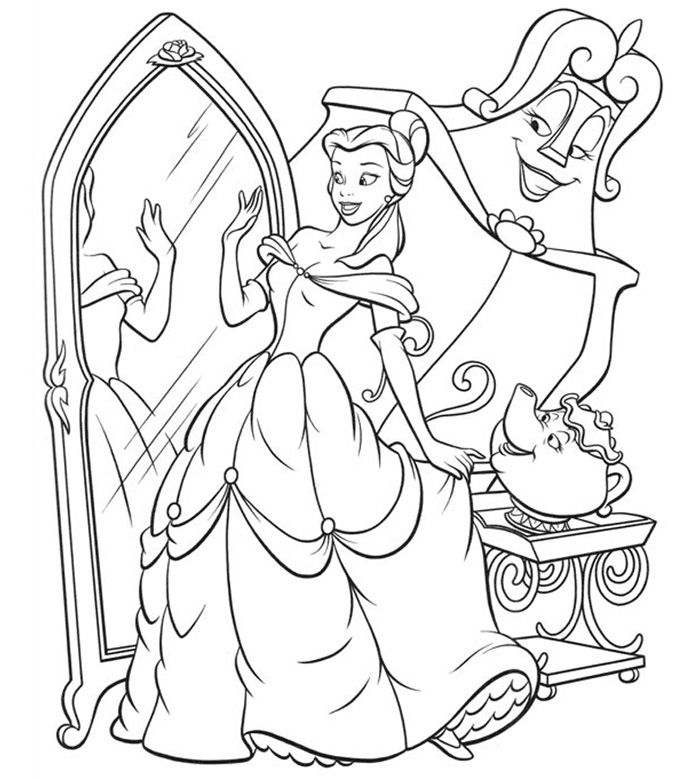 Printable Coloring Pictures Of Beauty And The Beast. Free Disney Princess Beauty and The Beast Coloring Pages  Printable for Kids Books http procoloring com