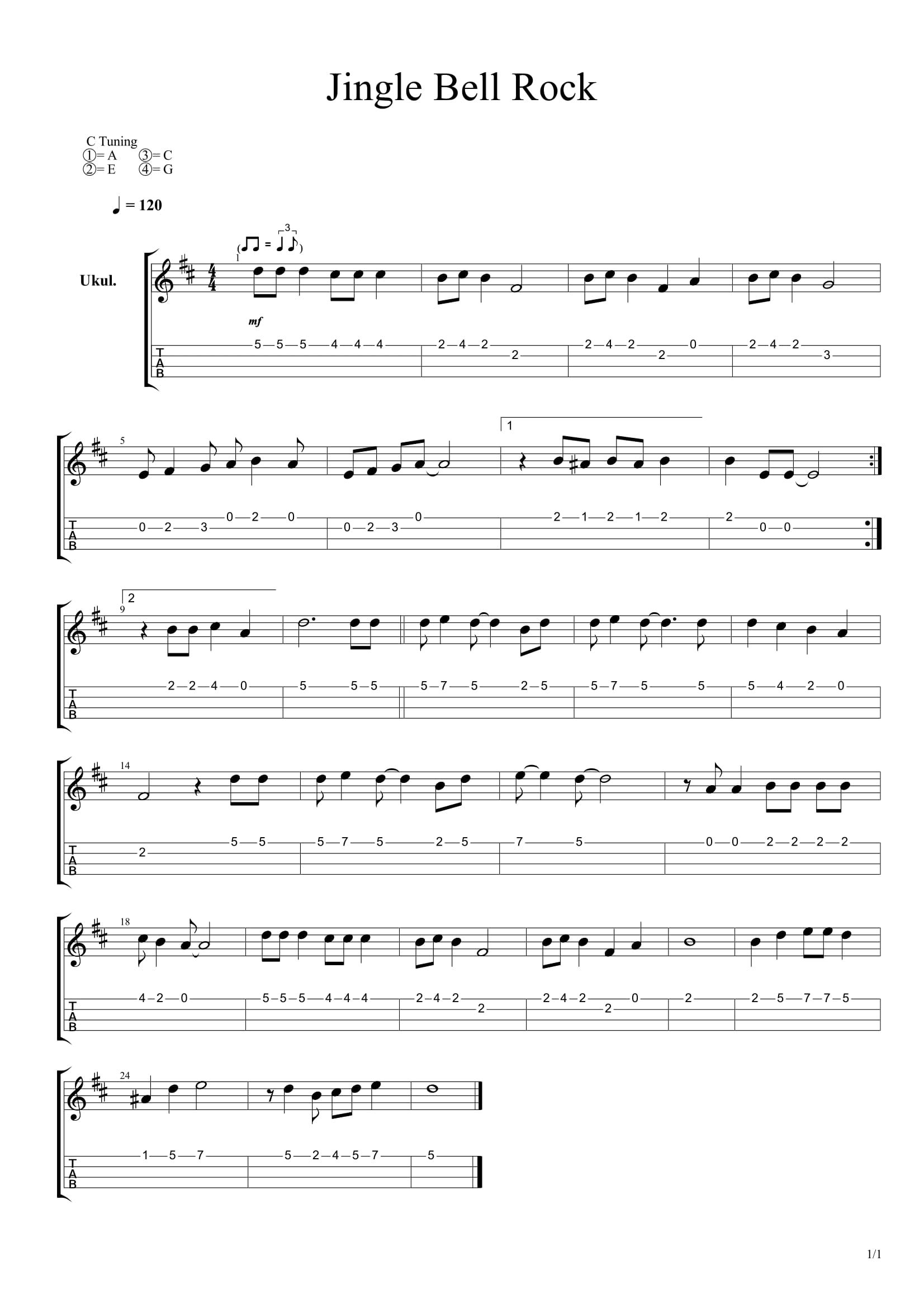 Jingle Bell Rock Ukulele Tabs Ukulele Tabs Songs Ukulele Songs