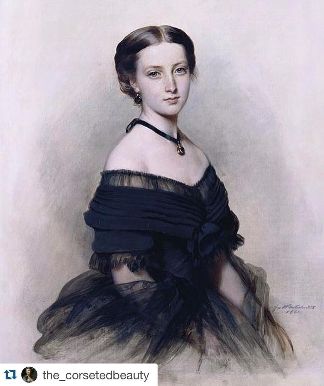 So elegant....#Repost @the_corsetedbeauty with @repostapp.  Portrait of Princess Helena of the United Kingdom by Franz Xaver Winterhalter ca. 1861. The Royal Collection  Princess Helena was the fifth child of Queen Victoria and Prince Albert. She was born 170 years ago today on 25 May 1846.  by isabellabradfordauthor