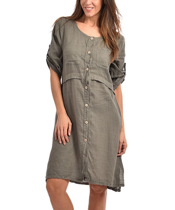 Look at this Couleur Lin Khaki Carmen Linen Dress - Plus Too on ...