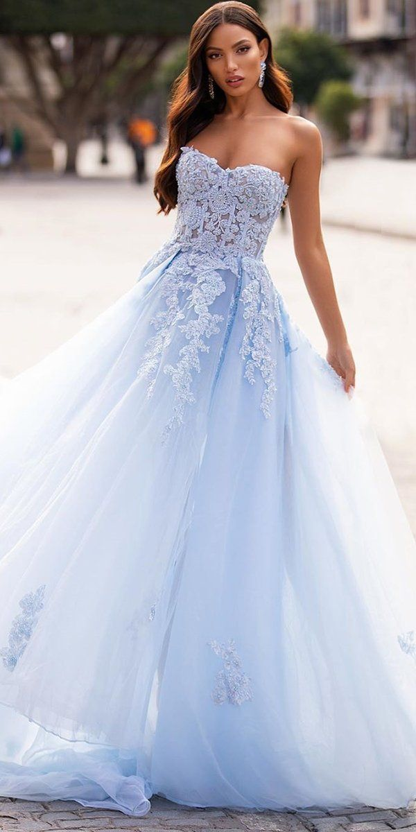 21 Adorable Blue Wedding Dresses For Romantic Celebration In 2020 Blue Wedding Gowns Blue Wedding Dresses Wedding Dresses