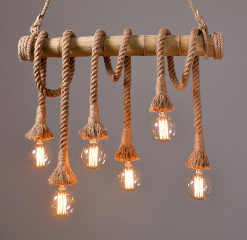 Industrial Vintage Hemp Rope Chandelier Pendant Light