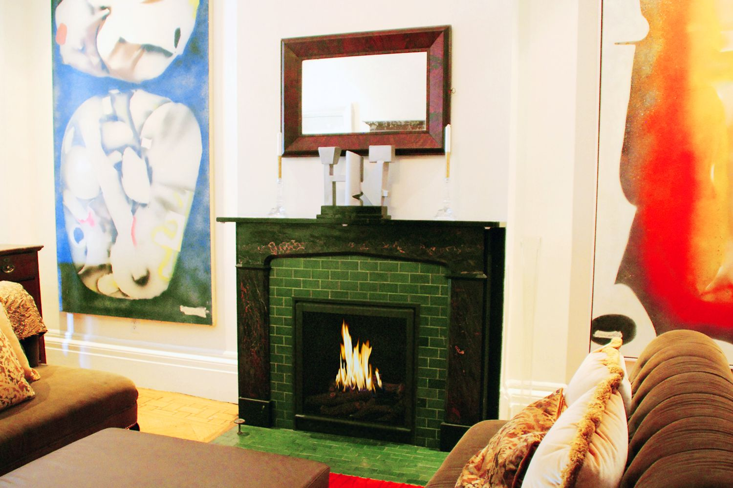 small traditional black hearth cabinet ventless fireplace private