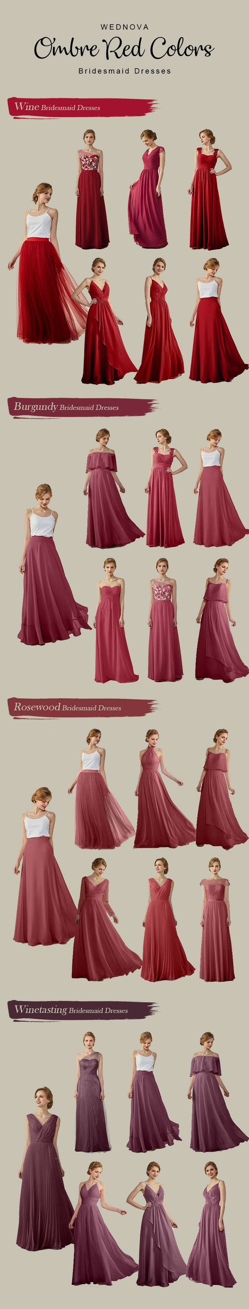 ombre red color bridesmaid dresses chiffon different styles