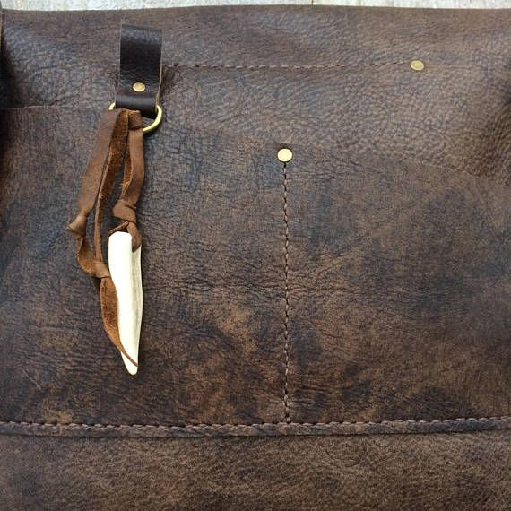 ea6b0f091971 Leather Cross Body Bag in Distressed Brown - Handmade - All Leather - Deer  Antler Accents