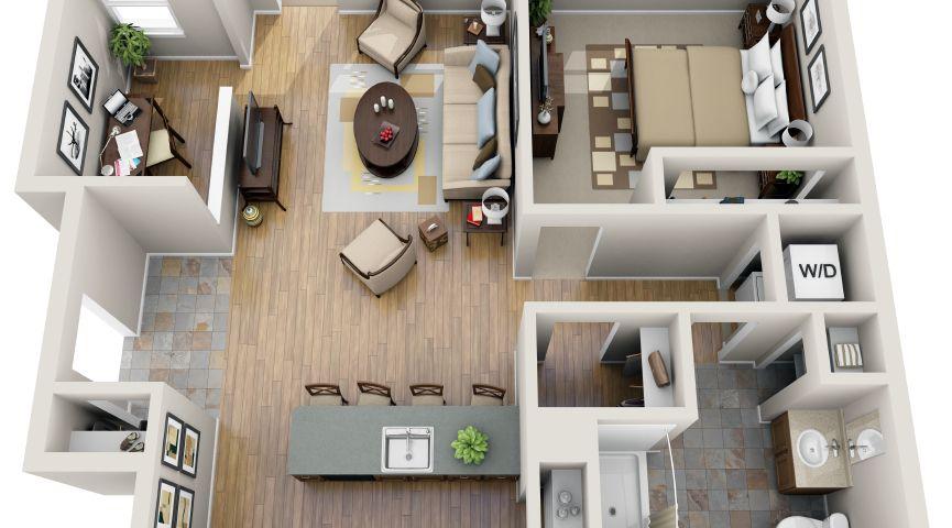 One Bedroom Study 3d Floor Plan Floor Plans One Bedroom House Plans One Bedroom House