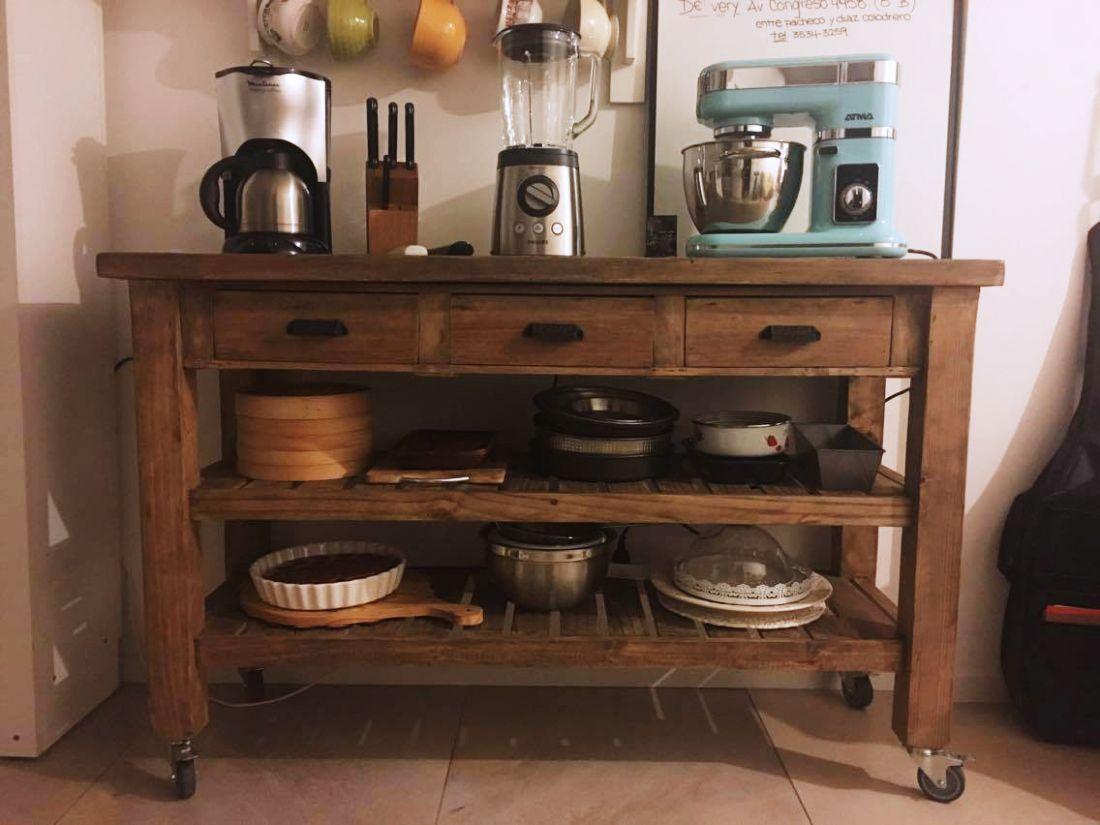 isla de cocina 2 estantes 3 cajones mueble de apoyo by antiguamadera pinterest. Black Bedroom Furniture Sets. Home Design Ideas