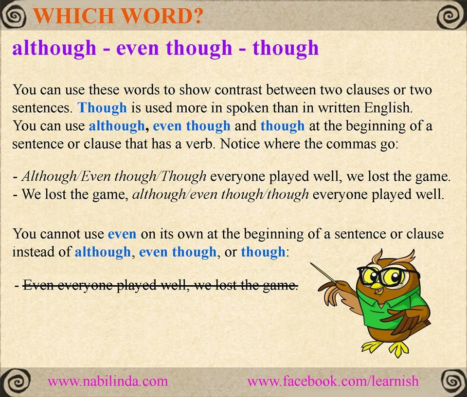 although - even though - though   English textbook. Teaching grammar. English vocabulary