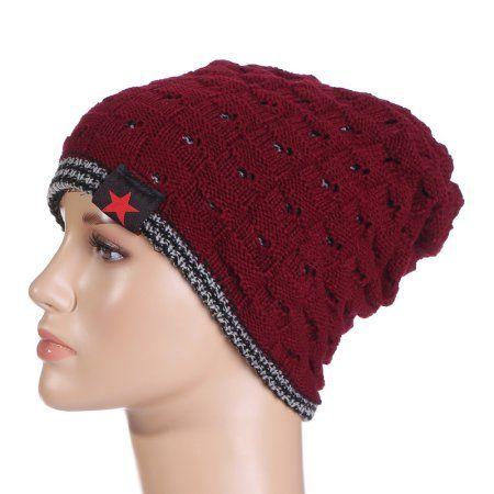 Knit Hat Warm Snow Caps Women Hat Men Hat Reversible Beanie Hat Winter Autumn