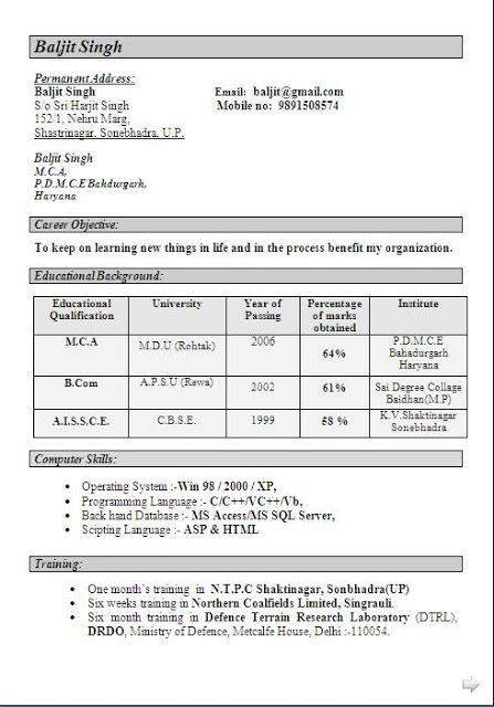bio data form for job free download Sample Template Example of - resume format for mca