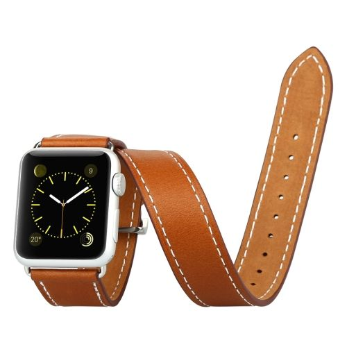 [$23.51] Baseus Sunlord Series Metal Buckle Genuine Leather Watchband with Connector for Apple Watch 38mm(Brown)