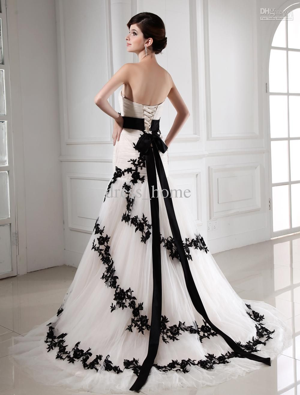 30+ Black and White Wedding Dresses Combination : Mermaid Strapless ...
