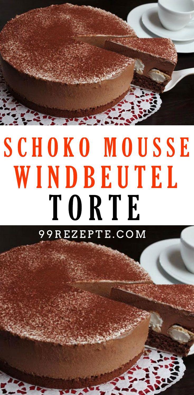 Schoko Mousse Windbeutel Torte sieht schön festlich aus und ist eine kleine Sü…