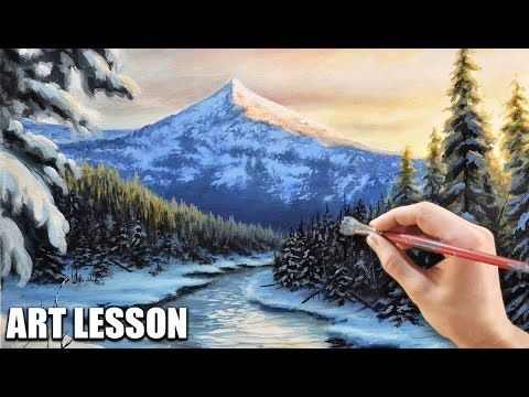 Acrylic Landscape Art Lesson Morning Mountains With Stream Youtube Tree Painting Canvas Canvas Painting Tutorials Winter Scene Paintings