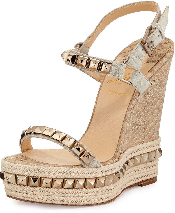 8a4de7f13948 Christian Louboutin Cataclou Python-Embossed Cork Wedges