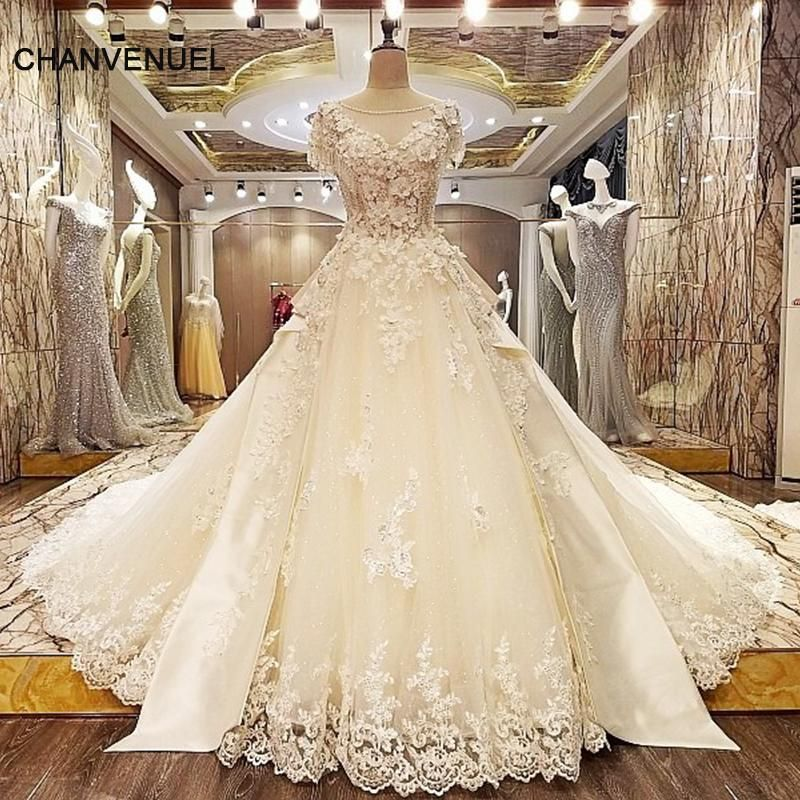 Ivory Lace Bodice Ball Gown Wedding Dress With Sheer Long: LS33227 Luxury Wedding Gown Crystal Long Train Lace Ball