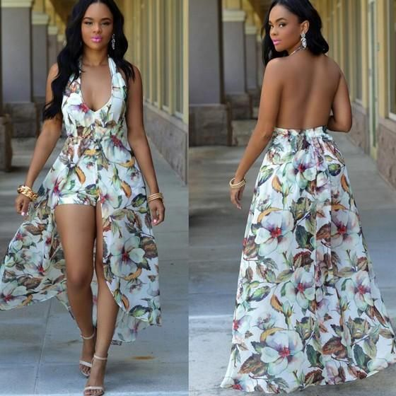 dca49f89e5f5 White Floral Print Deep V-neck High Waisted Short Jumpsuit With Maxi Overlay