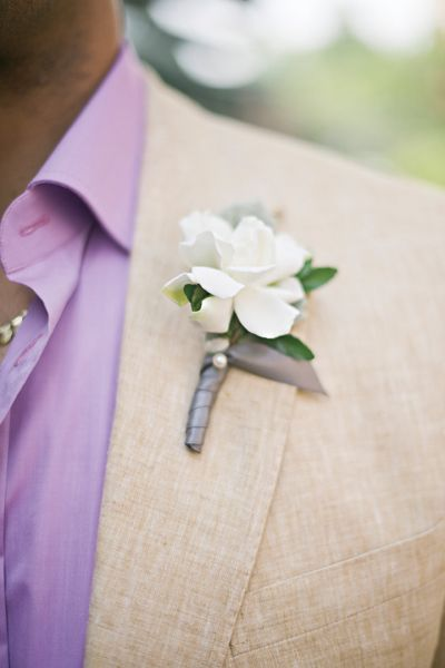 Gardenia Boutonniere Groom Groomsmen Wedding Blooms Details