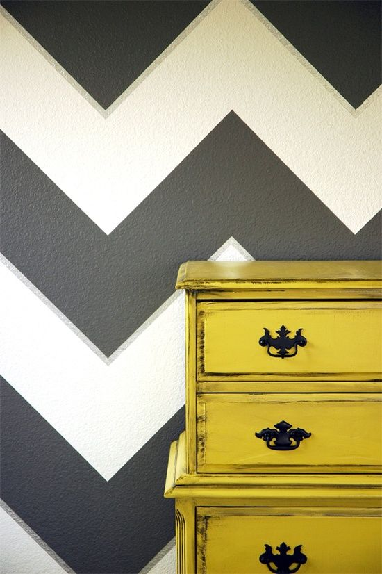 Black and white painted chevron walls and a yellow dresser. | For ...