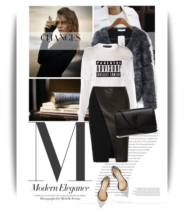 """""""Down to earth"""" by emeliet ❤ liked on Polyvore featuring Balenciaga, Alexander Wang, Alice + Olivia, Yves Saint Laurent and Oscar de la Renta"""