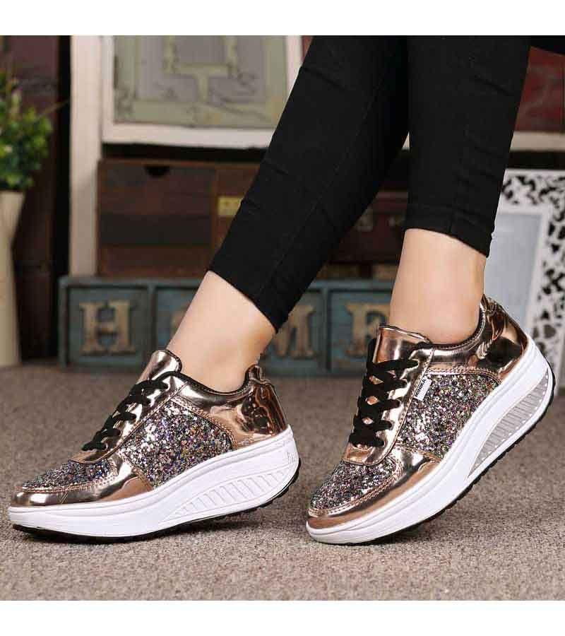 Golden Pattern Leather Rocker Bottom Shoe Sneaker Womens Sneakers Sneakers Fashion Sneakers