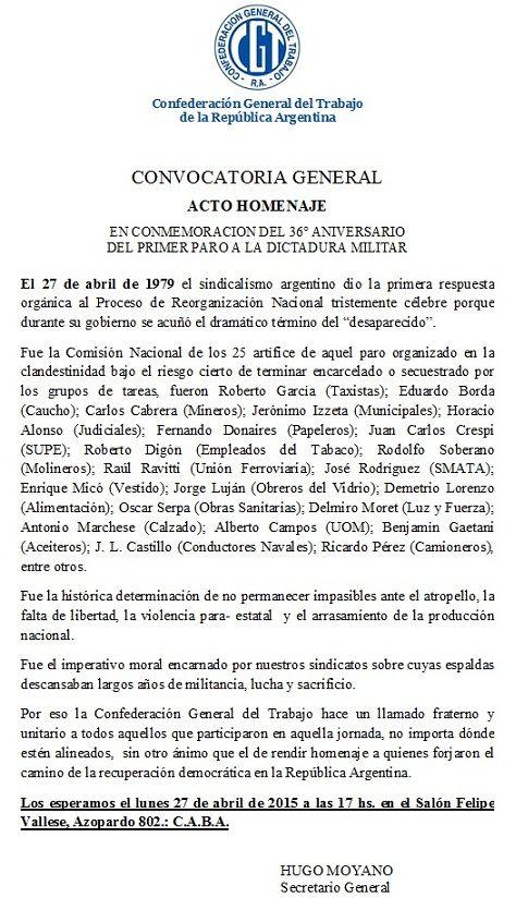 ACTO HOMENAJE EN CONMEMORACION DEL 36° ANIVERSARIO DEL PRIMER PARO A LA DICTADURA MILITAR