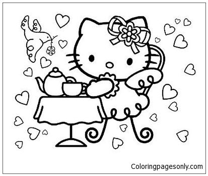 party coloring pages Hello Kitty Tea Party Coloring Page | Hello Kitty Coloring | Hello  party coloring pages