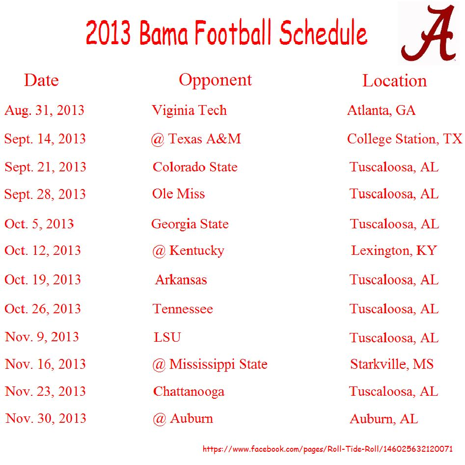2013 Alabama Football Schedule Can T Believe Our By Week Is 2nd