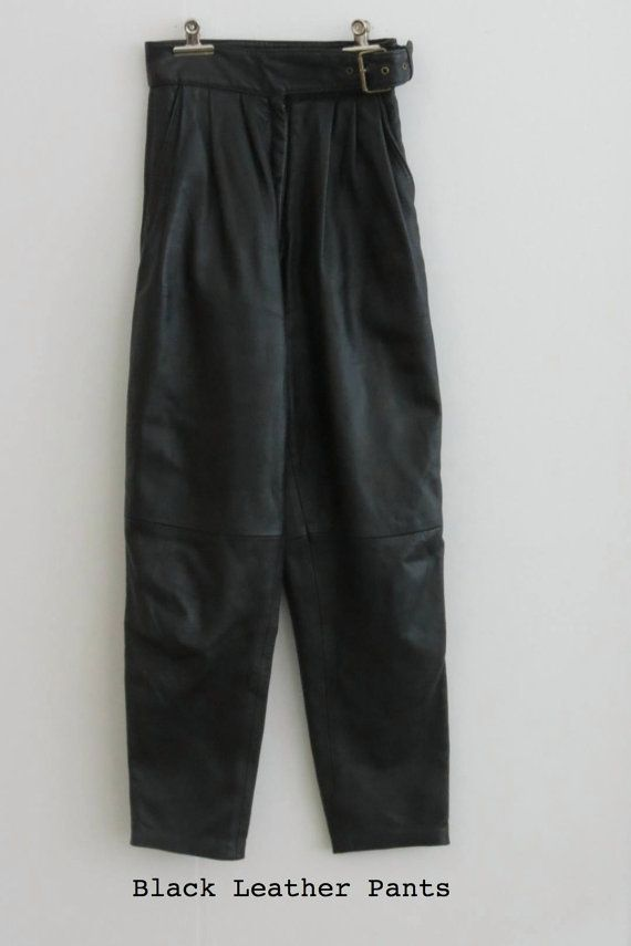 Black Leather High Waist Pants by singlegreenfemale on Etsy