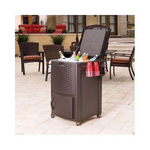 Patio Cooler On Wheels Picnic Ice Chest Cart 77 Qt Deck Poolside Yard Boat  Party