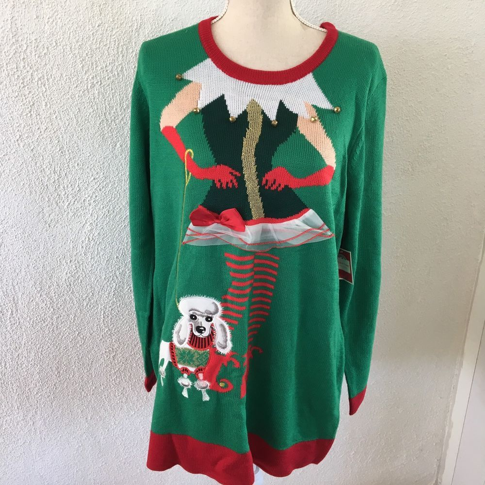 holiday time ugly christmas sweater tunic womens elf santa xl 16 18 poodle holidaytime