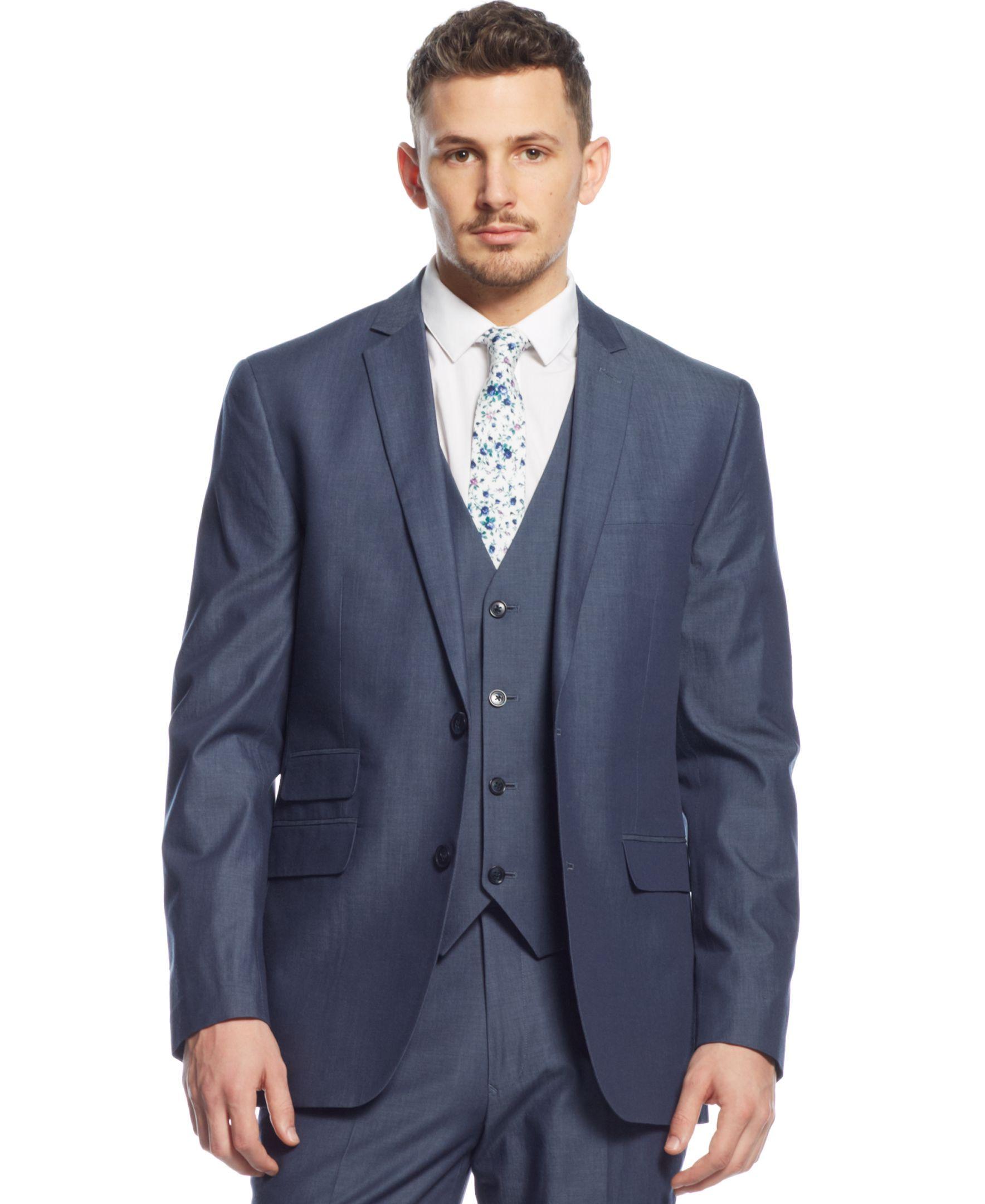 Bar Iii Blue Chambray Slim-Fit Jacket